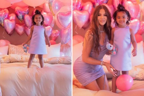 Khloe throws party for True's 3rd birthday with bouncy castle and Frozen stars