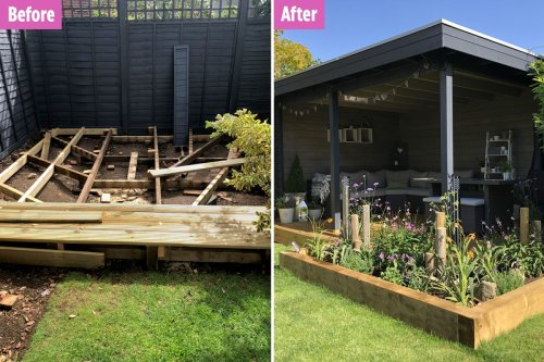 Thrifty woman saves almost £1,000 turning her rotting decking into a pergola