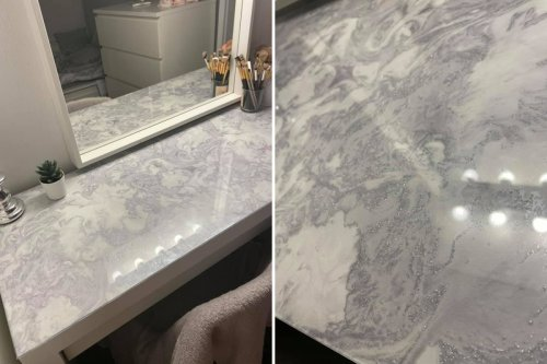 Woman turns IKEA counter into marble dressing table for FREE with B&M samples