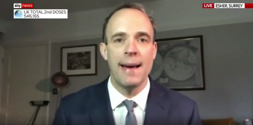 Eagle-eyed Sky viewers mock Dominic Raab's 'high tech interview security'