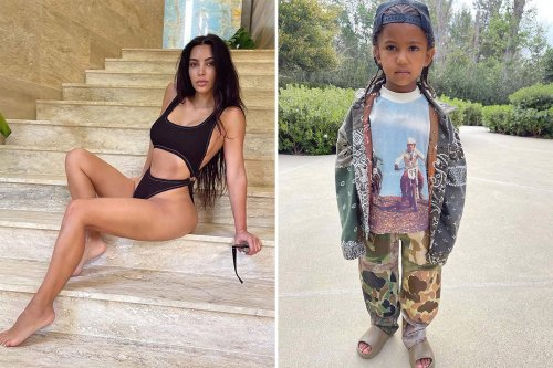 Kim praises son Saint, 5, as he models his dad Kanye's $240 slides amid divorce
