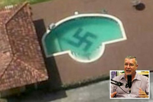 Nazi-lover who named son Adolf forced to cover giant swastika in pool