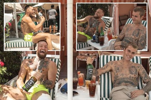 Conor McGregor sips Proper No12 with Justin Bieber as Notorious laps up sun