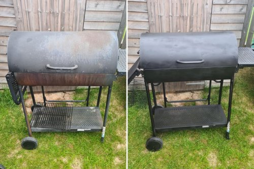DIY fan gives rusty BBQ facelift with budget buy & it works on fire pits too