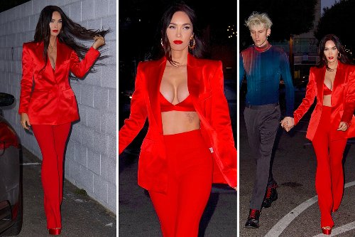 Megan Fox nearly busts out of red bra as she celebrates 35th birthday with MGK