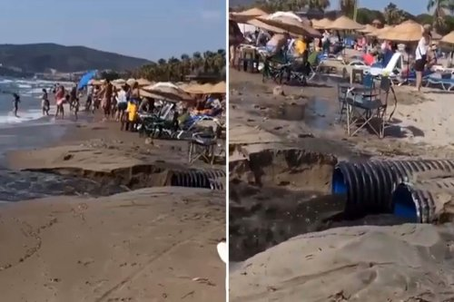 Families flee torrent of raw sewage flooding onto beach after festival