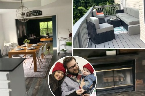 Inside Amy Duggar's Arkansas home featuring cozy fireplace & massive deck