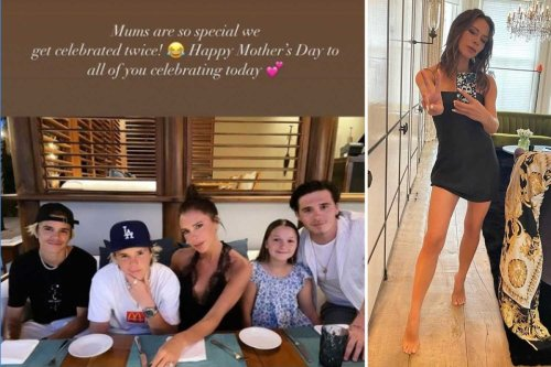 Victoria Beckham glams up in lace halterneck as she marks US Mother's Day