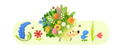 Spring 2021 - Google Doodle celebrates the new season and equinox in the Northern Hemisphere