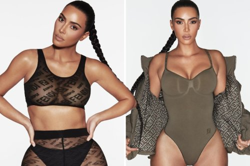 Kim busts out of see-through bra & bodysuit as she models Fendi & SKIMS line