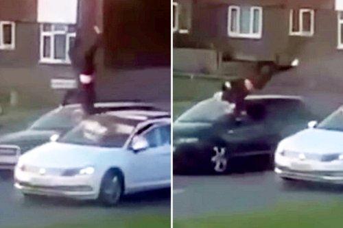 Horrific moment driver catapults pedestrian through air in hit-and-run crash