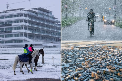 Snow hits London and parts of Britain in -9.4C chill as pub beer gardens reopen