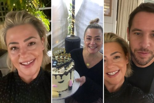 Inside Lisa Armstrong's 45th birthday celebrations with boyfriend James Green with a giant 'make-up' cake