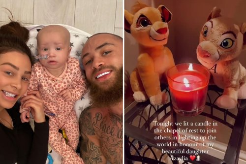 Ashley Cain pays tribute to daughter Azaylia by lighting a candle surrounded by lion teddies at Chapel of Rest