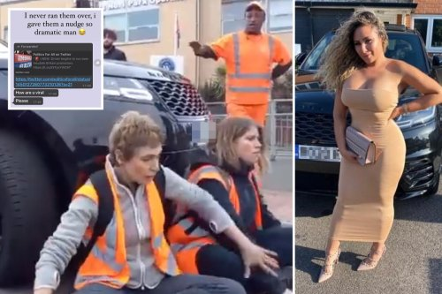 Raging school run mum who drove at eco-mob says 'I just gave them a nudge!'