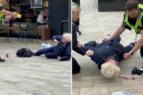 Moment cops Taser 'shoplifter', 60 before kicking him & pinning him to floor