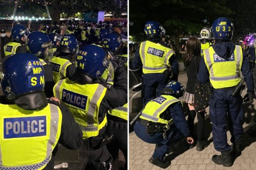 Riot cops rush to London Eye and are pelted with objects in shocking scenes