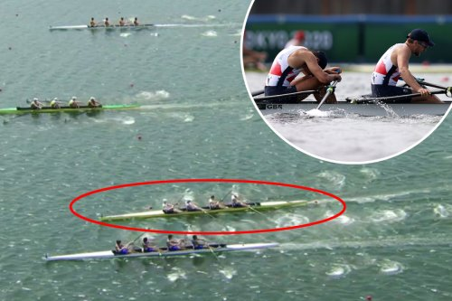 Watch Team GB nearly CRASH into rival as steering disaster costs coxless 4 medal