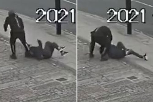 Shocking moment woman pinned to the ground by robber who steals her necklace