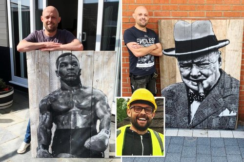 Scaffolder builds new career as artist by turning planks into portraits