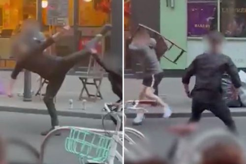 Shocking moment brawlers 'hurl glasses & bottles' in Kung-fu style street row
