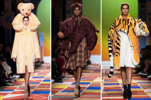 Models have a wild time on the catwalk dressed up as safari animals