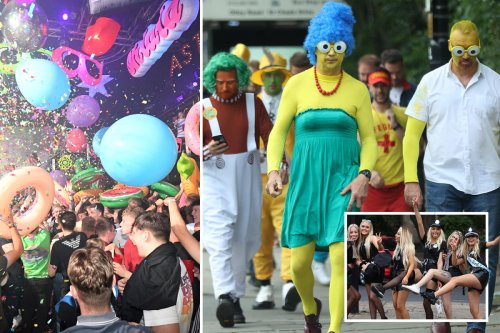 Boozy Brits don fancy dress as thousands celebrate first weekend of freedom