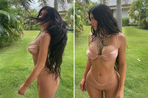 Kylie nearly busts out of nude bikini on luxury girls getaway for BFF's birthday