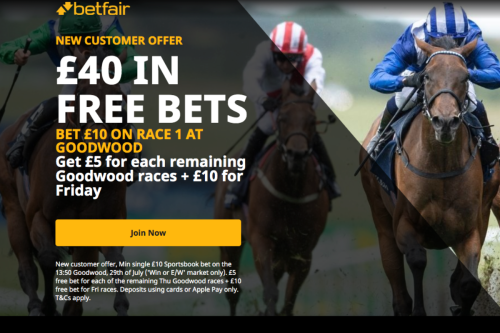 Get £40 in free bets when you bet £10 on the first race at Goodwood