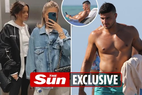 Tommy Fury looks like he's missing Molly-Mae as he's glued to his phone in Miami