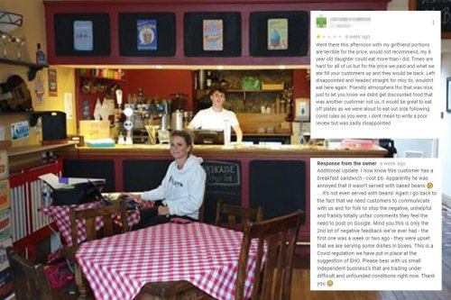 Cafe owner's brutal reply 'idiot' customer's 1-star review over lack of beans