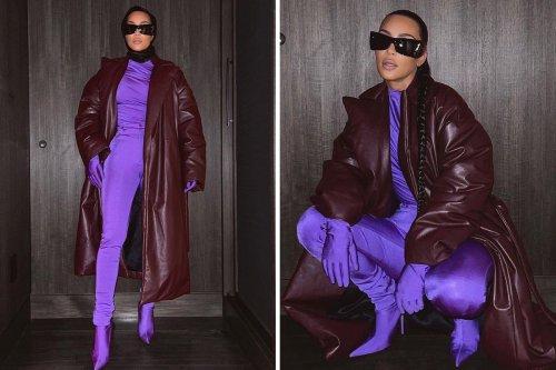 Kim Kardashian shows curves in skintight purple catsuit as she turns 41