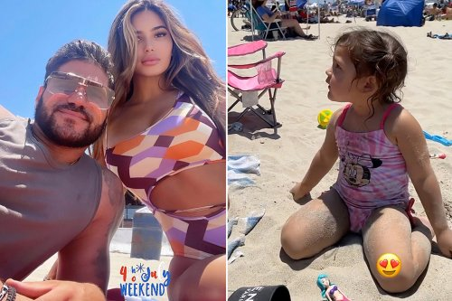 Jersey Shore's Ronnie hits the beach with fiancée Saffire & daughter Ariana