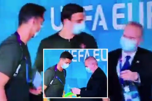 Watch Ronaldo get ID'd as Portugal superstar forgets to flash his pass