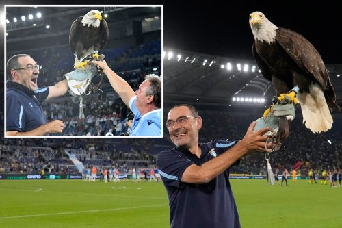 Sarri holds live EAGLE aloft to celebrate Lazio derby win over Mourinho's Roma