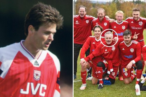 Ex-Arsenal hero Limpar scores from halfway line two decades after retiring