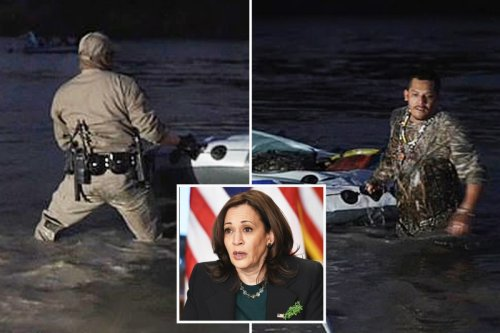 Texas trooper fights smuggler for control over raft on banks of Rio Grande.