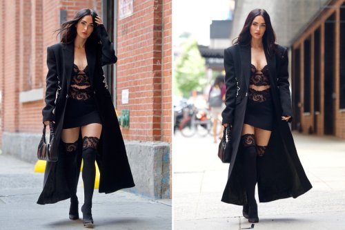 Megan Fox stuns in a lace crop top and matching stockings in New York