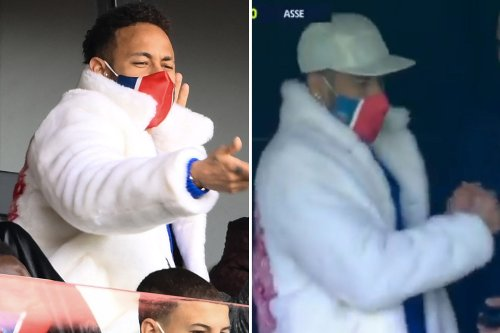 Suspended Neymar wears huge furry coat as he cheers on team-mates from stands