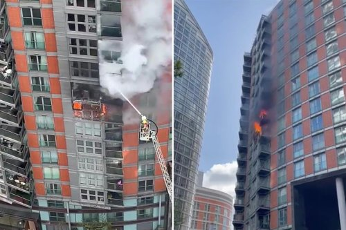 Residents trapped in flat fire yell 'help, open the door' as blaze erupts