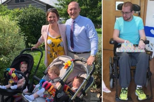 Miracle triplets have 'lost their daddy' brain damaged in crash, says wife