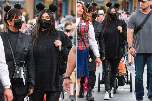 Pregnant Kylie Jenner shows off baby bump in leather pants on Disneyland trip