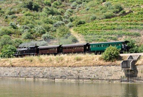 A vintage train journey through the Douro Valley