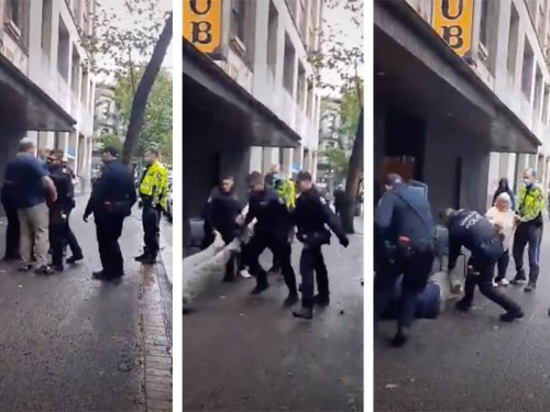 Police Shove a Man to the Ground, Then Confront a Witness Recording It (in News)