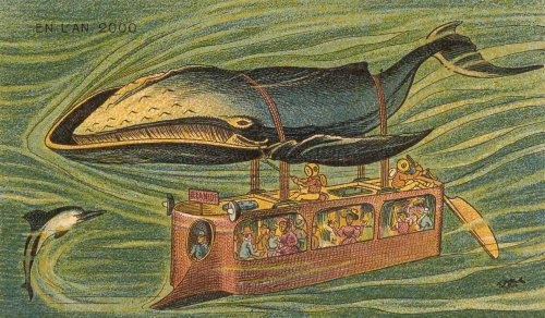 Postcards from 19th-century illustrators depicting the future