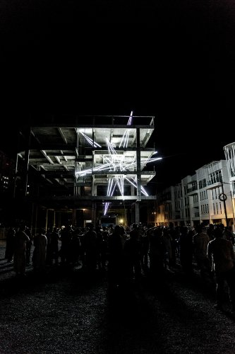 A Giant LED Star Pierces the Floors of a 4-Story Building in Malaysia