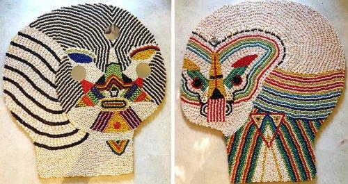 Evoking Mythology and Urban Culture, Beaded Masks Brim with Geometric Motifs and Embellishments