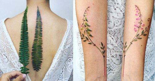 Delicate Botanical Tattoos by Pis Saro