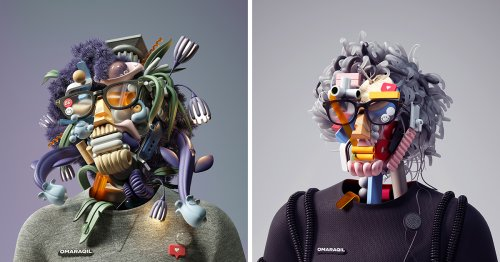 Digital Renderings Collage 3D Objects into Futuristic Self-Portraits by Artist Omar Aqil