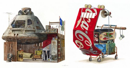 Discarded Technology and Branded Trash Are Stacked into Dystopian Structures in Alvaro Naddeo's Paintings